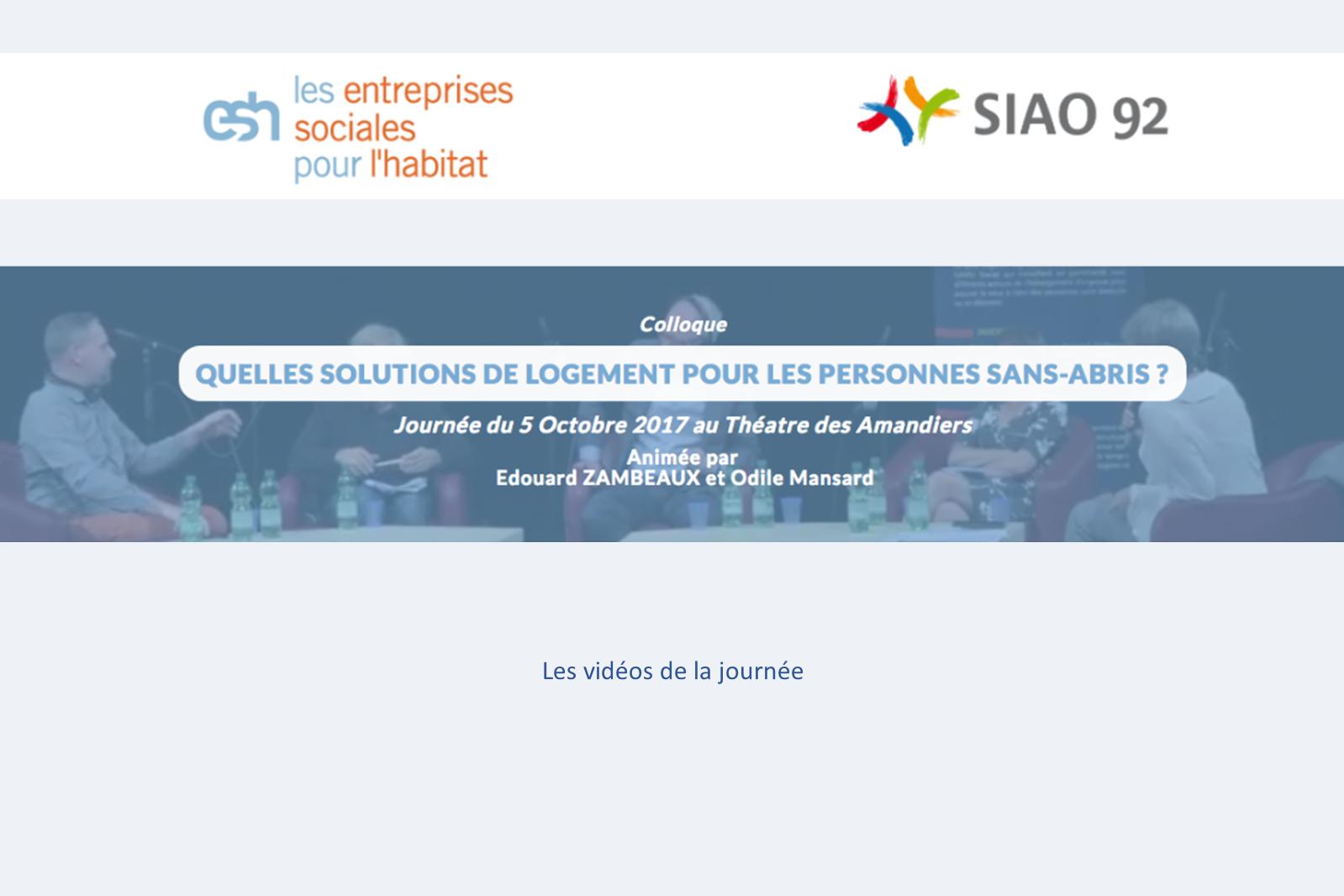 Colloque SIAO 92 – ESH – 05 octobre 2017